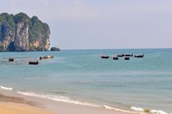 Tropical beach in Krabi, Thailand Royalty Free Stock Images