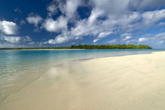 Tropical beach and lagoon. Aitutaki,Cook Islands Royalty Free Stock Photo