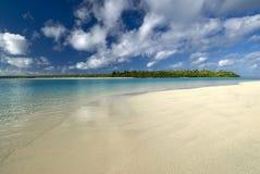 Tropical beach and lagoon. Aitutaki,Cook Islands Royalty Free Stock Photo