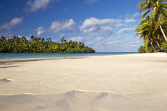 Tropical beach and lagoon. Aitutaki,Cook Islands Royalty Free Stock Image