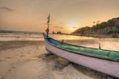 Tropical Beach landscape in GOA. HDR image of sunset in a beach royalty free stock photos