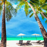 Tropical beach landscape with palm trees. Boracay island, Philippines. Amazing tropical beach landscape with palm trees, umbrellas and chairs for relaxation on Royalty Free Stock Photos