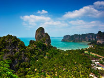 Tropical beach landscape panorama. Thailand. Tropical beach landscape panorama. Beautiful Railay west beach with rock formations, blue ocean and hotel resorts Royalty Free Stock Photos