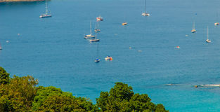 Tropical beach landscape panorama. Beautiful turquoise ocean wai. Ves with boats and sandy coastline from high view point. Kata and Karon beaches, Phuket Stock Photos