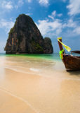 Tropical beach landscape. Thai traditional long tail boat Stock Images