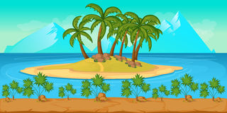Tropical Beach Landscape For UI Game nIllustration of a cartoon summer ocean background Stock Photo