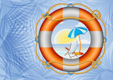 Tropical beach and lifebuoy Stock Image