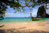 Tropical beach with limestone rock Royalty Free Stock Photography