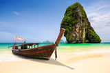 Tropical beach with limestone rock Stock Photo