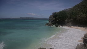 Tropical beach. Lonely beach on island running wave stock video footage