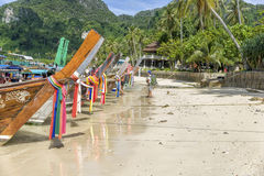 Tropical beach, long tail boats, Thailand Stock Image