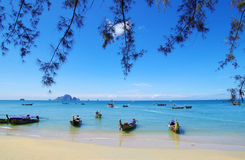 Tropical beach, longtail boats Stock Image