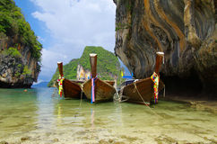 Tropical Beach, Longtail Boats Royalty Free Stock Photography