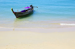 Tropical beach, longtail boats, Stock Images