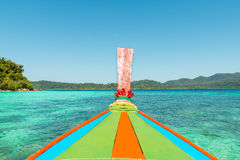 Tropical beach, longtail boats, Andaman Sea in Phuket, Thailand Stock Photography