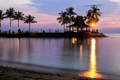 Tropical beach at magic hour. Royalty Free Stock Images