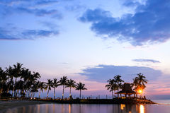 Tropical beach at magic hour. Royalty Free Stock Photo
