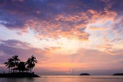 Tropical beach at magic hour. Stock Photos