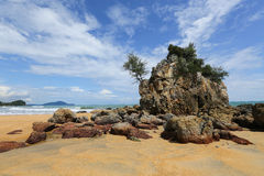 Tropical beach, Malaysia. Tropical beach with big rock, Malaysia Stock Photography