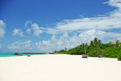Tropical beach on Maldivian island in Indian ocean Royalty Free Stock Images