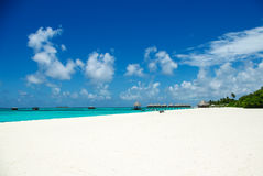 Tropical beach on Maldivian island in Indian ocean Stock Photography