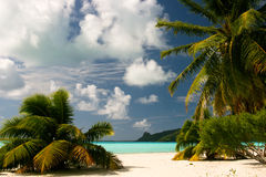 Tropical beach on Maupiti, French Polynes stock image