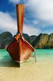 Tropical beach, Maya Bay, Thailand. Tropical beach, traditional long tail boat, Maya Bay, Thailand royalty free stock images