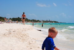 Tropical beach in mexico. Exotic beach with white sand in Riviera Maya, Mexico royalty free stock photography