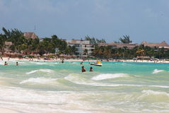Tropical beach in mexico. Exotic beach with white sand in Riviera Maya, Mexico royalty free stock images