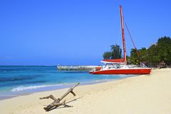 Tropical beach in Montego Bay, Jamaica. Caribbean royalty free stock photography