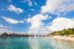 Tropical beach on Moorea island Royalty Free Stock Photos