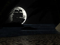 Tropical Beach at Night Moonlight, with Sailboat. Stock Photos