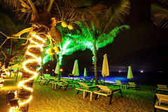 Tropical beach at night time Royalty Free Stock Images