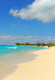 Tropical beach with nobody. Tropical beach in the Bahamas with white sand and turquoise blue ocean water and nobody on the beach Royalty Free Stock Photography