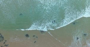 Tropical Beach and Ocean Waves Top View stock video