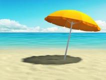 Tropical beach with orange umbrella Royalty Free Stock Photos