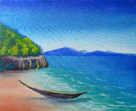 Tropical beach painting. Tropical beach with boat by water colors painting royalty free stock images