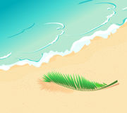 Tropical beach and palm branch Stock Photography