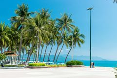 Tropical beach with palm and lamp on coast vacation relax royalty free stock photos