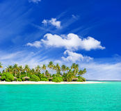 Tropical  beach with palm trees. Over beautiful blue sky Stock Images