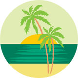 Tropical beach with palm trees. Royalty Free Stock Photography