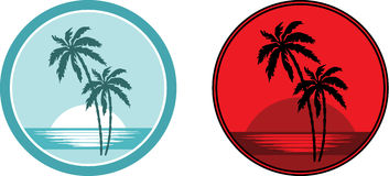 Tropical beach with palm trees. Emblem. Stock Images