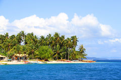 Tropical beach with palm trees. Paradise tropical beach with palm trees Royalty Free Stock Images