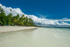 Tropical beach with palm trees at Philippines Stock Image