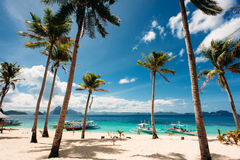 Tropical beach with palm trees, pilippine boats. Paradise. Philippines. Tropical beach with palm trees, pilippine boats, blue sky, turquoise water and white Royalty Free Stock Image