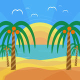 Tropical beach with palm trees Royalty Free Stock Image