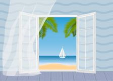 Tropical beach, palm trees and ship vector illustration