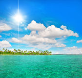 Tropical beach with palm trees and sunny blue sky. Tropical island beach with palm trees and sunny blue sky Royalty Free Stock Photos