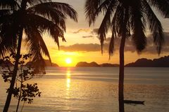 Tropical beach with palm trees at sunset, El Nido, Palawan island in the Philippines. Tropical beach with palm trees at sunset, El Nido, Palawan island, in the Royalty Free Stock Images