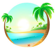 Tropical beach among palm trees Stock Image